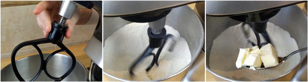 Montare la frusta a foglia sulla planetaria, accenderla e aggiungere il burro per eseguire la sabbiatura degli ingredienti.