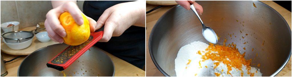 Grattugiare la scorza di un'arancia e aggiungere un pizzico di sale