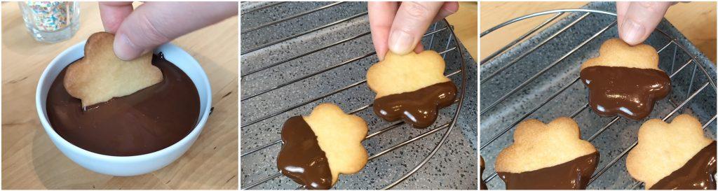 Ricoprire i biscotti di cioccolato.