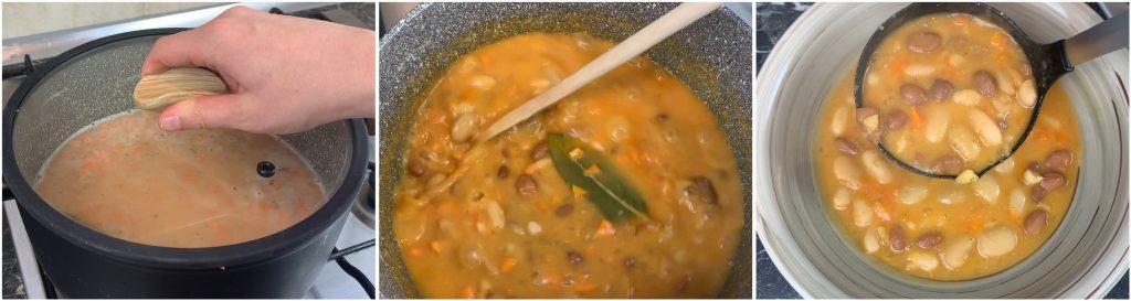 Zuppa di fagioli con i fagioli in scatola pronta e servita.