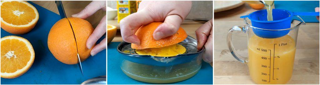 Spremiamo le arance e filtriamo il succo, in modo da eliminare la polpa