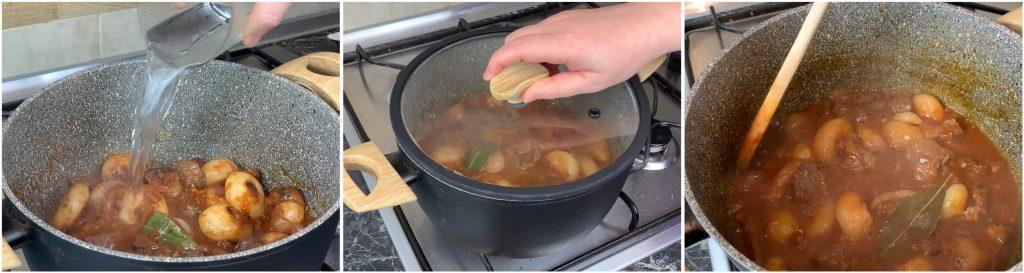 Aggiungere acqua e far cuocere lo spezzatino