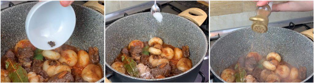Insaporire con grani di pepe, sale e noce moscata