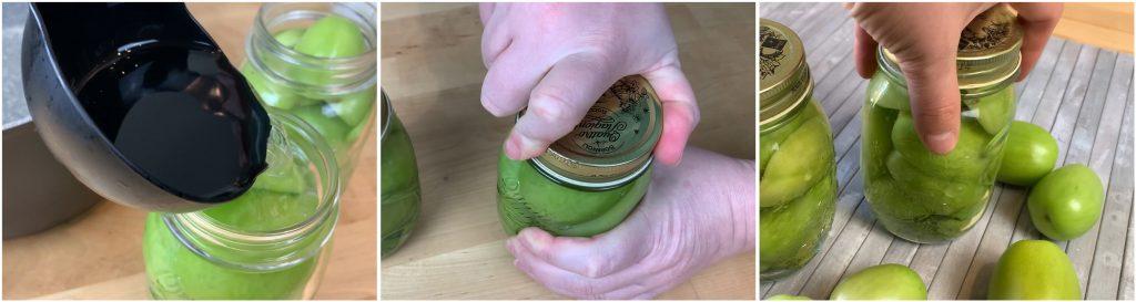 Aggiungere la salamoia e chiudere i barattoli.