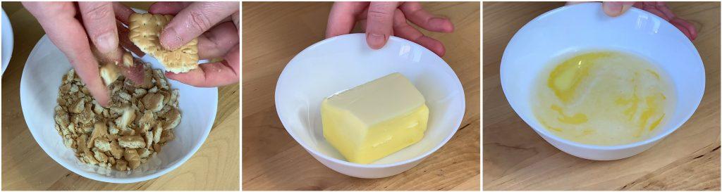 Rompere i biscotti secchi e sciogliere il burro