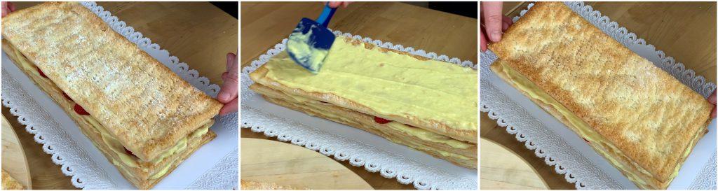 Completare gli ultimi strati di pasta sfoglia e crema pasticcera.