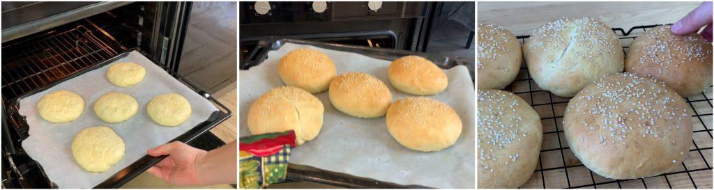Cuocere i panini per hamburger in forno e far raffreddare