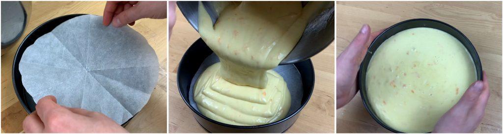 Versare l'impasto della torta nello stampo