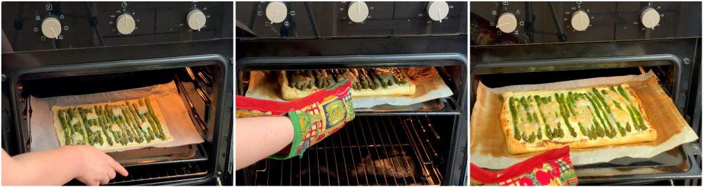Cuocere la torta di pasta sfoglia con asparagi