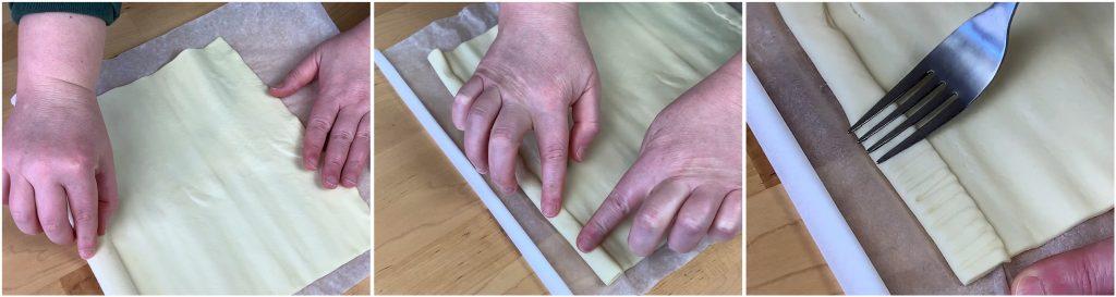 Formare i bordi della base di pasta sfoglia della torta salata agli asparagi