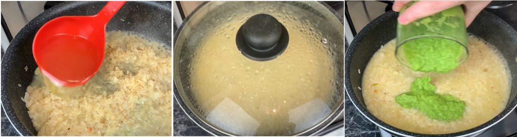 Cuocere il risotto con il brodo vegetale e aggiungere la crema di asparagi