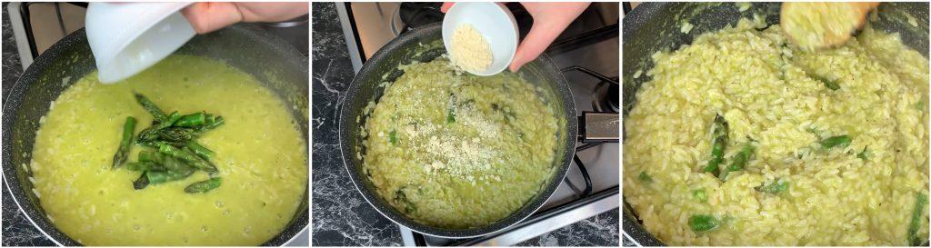Aggiungere le punte degli asparagi, il parmigiano e completare il risotto